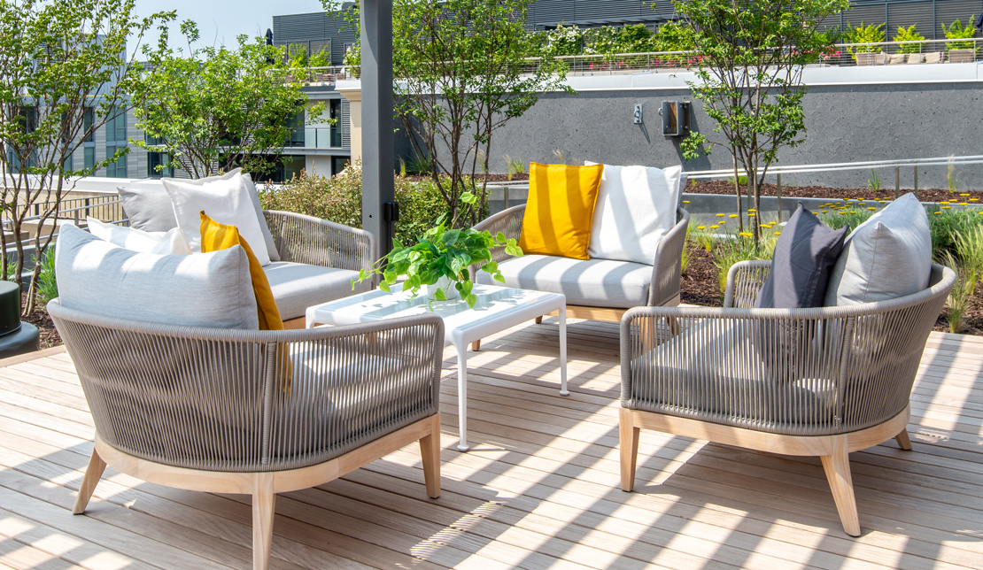 Outdoor Seating Area at the Victor Building