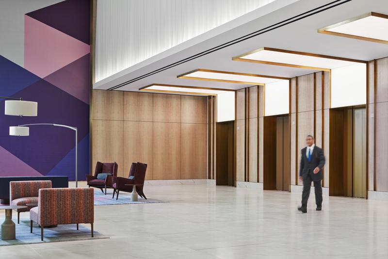 Interior common area seating and elevators