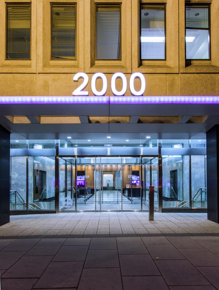 2000 M Main Entrance at Night