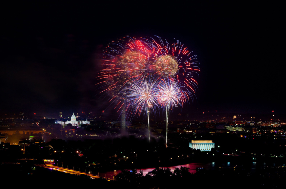 Aerial View of Fireworks in Washington DC from Arlington Tower