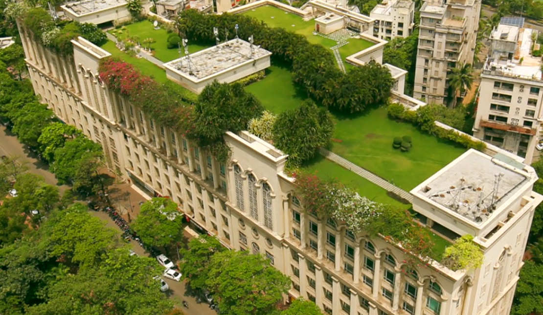 Powai Business District Exterior Aerial View of Rooftop Garden and Trees