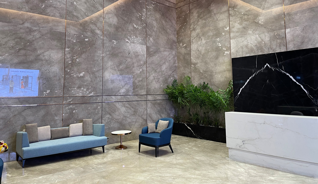 Powai Business District Interior Lobby and Soft Seating Area  with Guest Service Desk