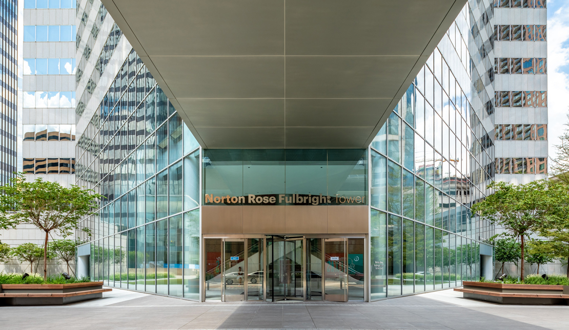 Exterior view of Fulbright Tower's main entrance
