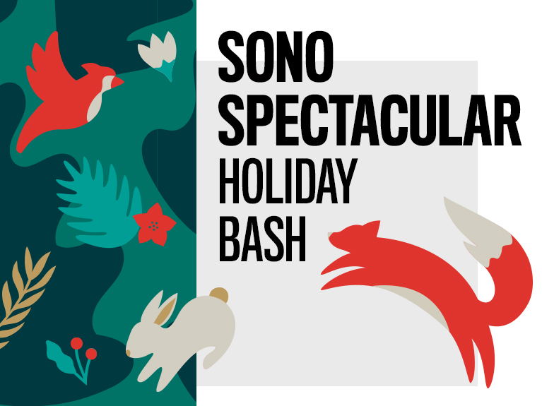 SoNo spectacular holiday bash with fox and rabbit