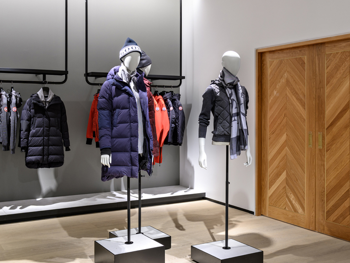 Partial Mannequins wearing Canada Goose apparel (hat, jacket, scarf)