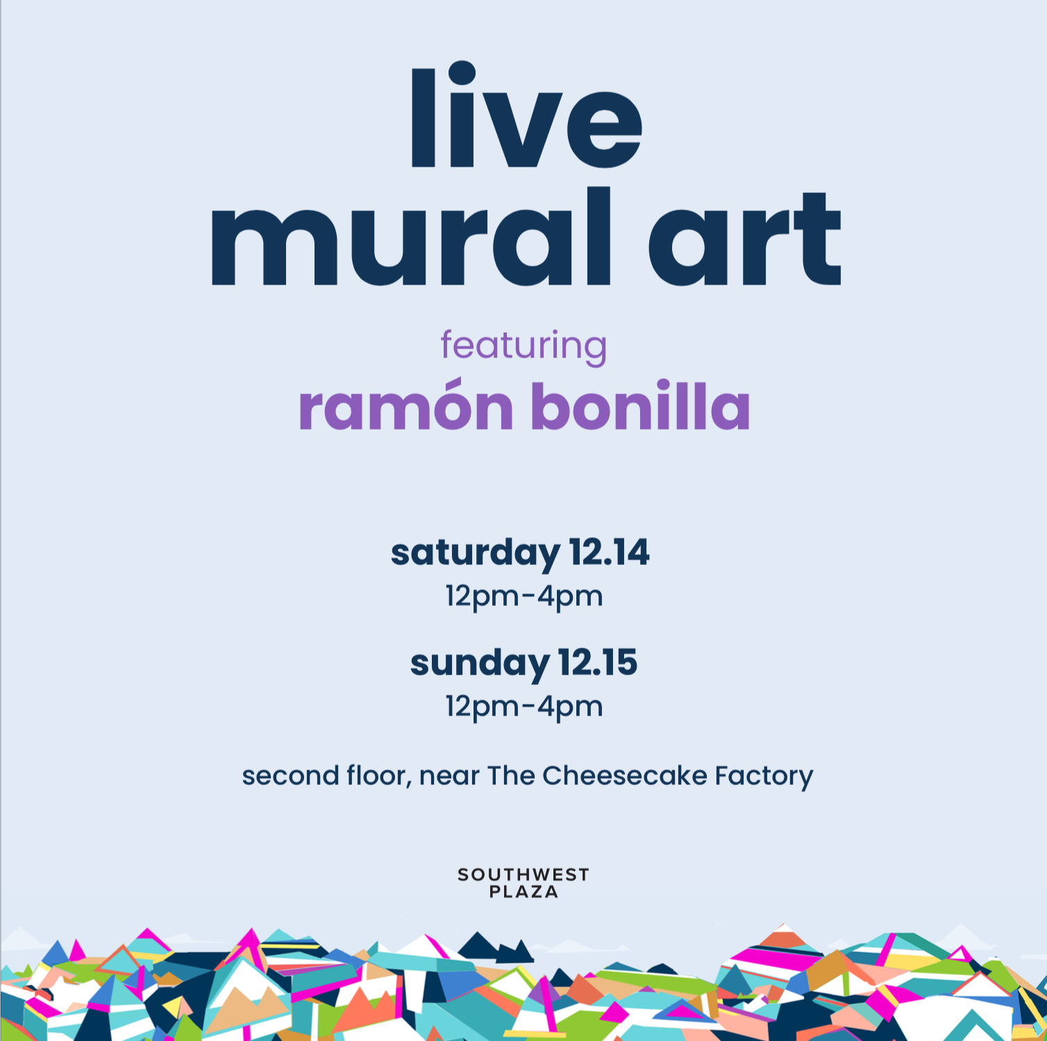 live mural art poster on light blue background with geometric  multi-colored mountain art at bottom