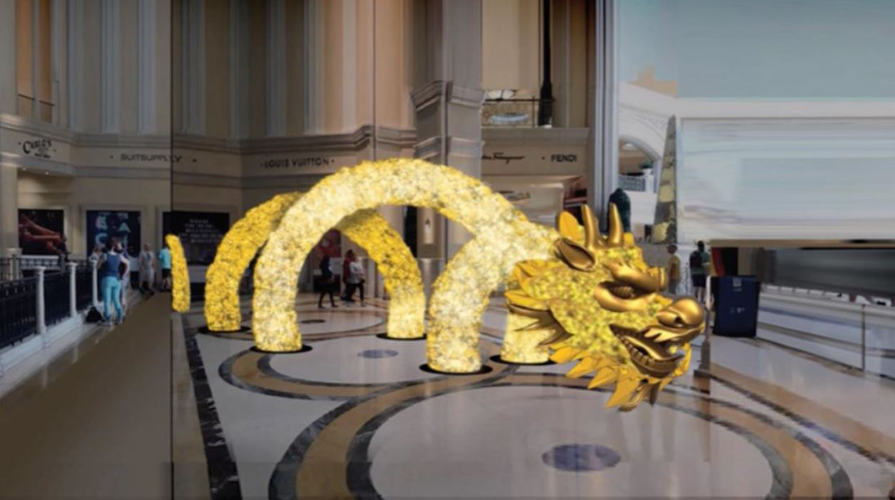 Grand Canal Shoppes Begins Installation on a New Dragon Art Display to Celebrate Chinese New Year