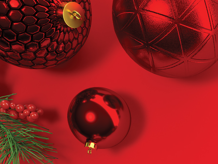 red ornaments holiday