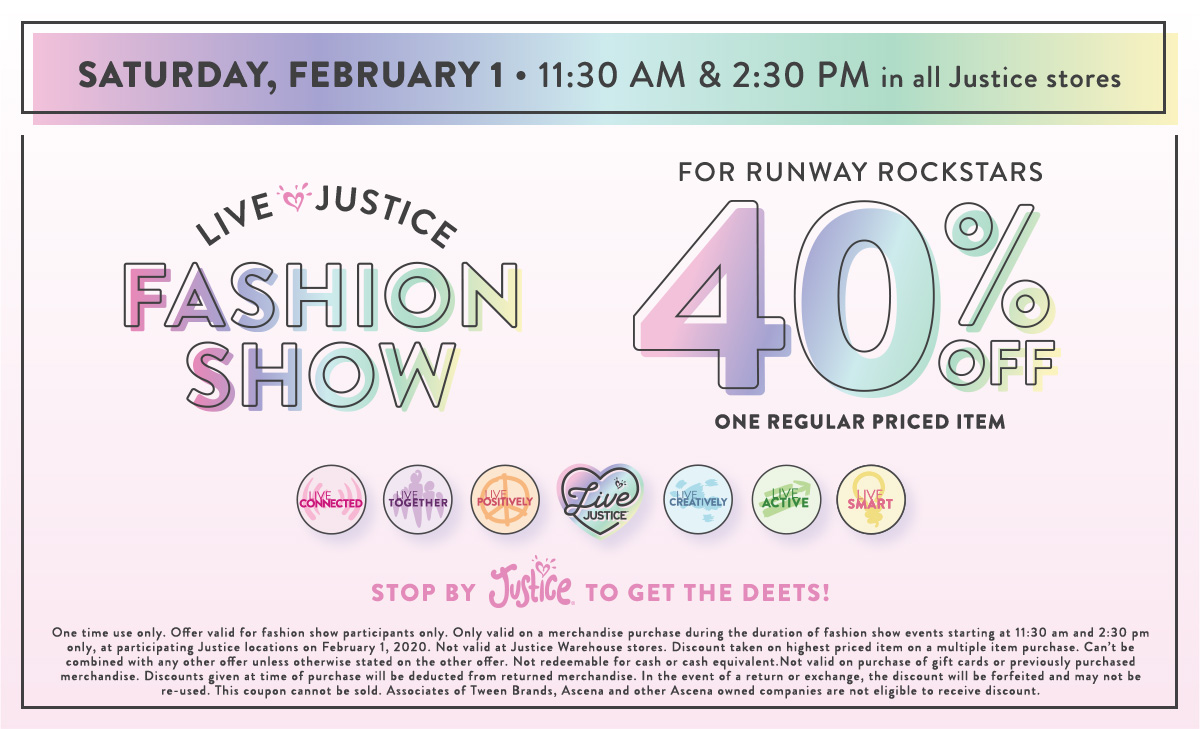Live Justice Fashion Show - Pecanland Mall