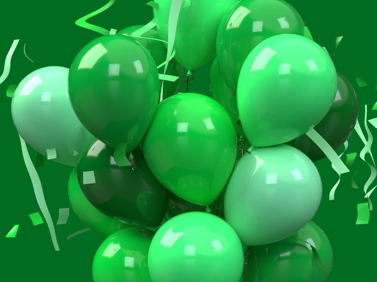 green balloons confetti