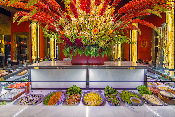 buffet with flowers