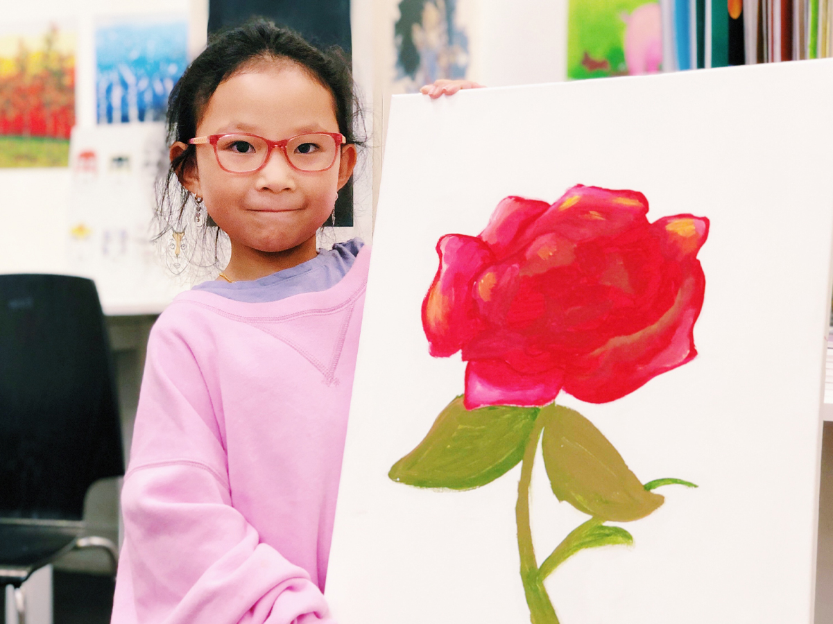 Child with flower painting