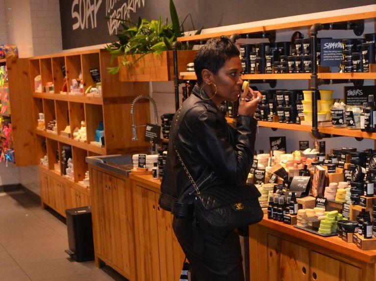 woman shopping at lush