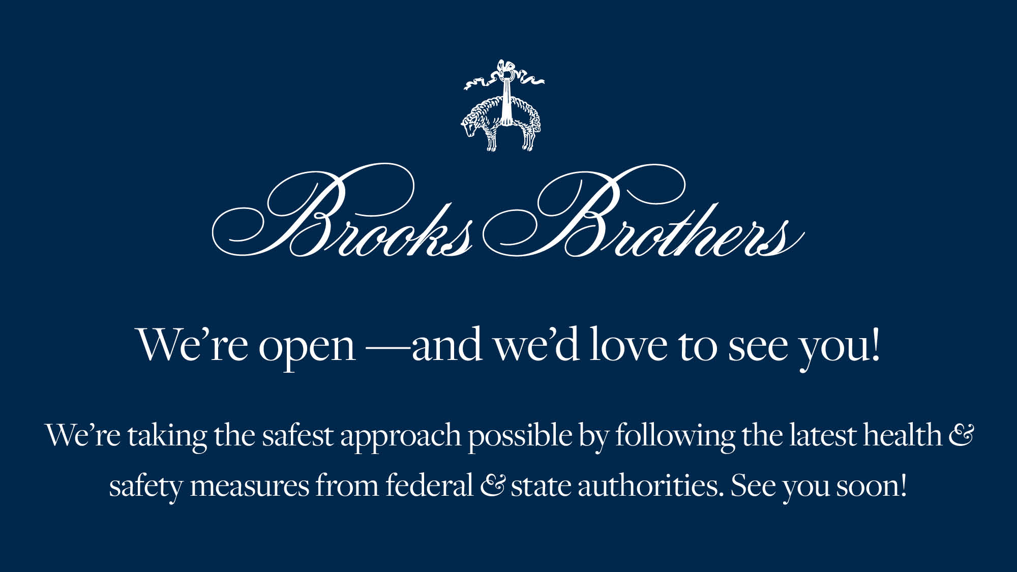Brooks Bothers Now Open