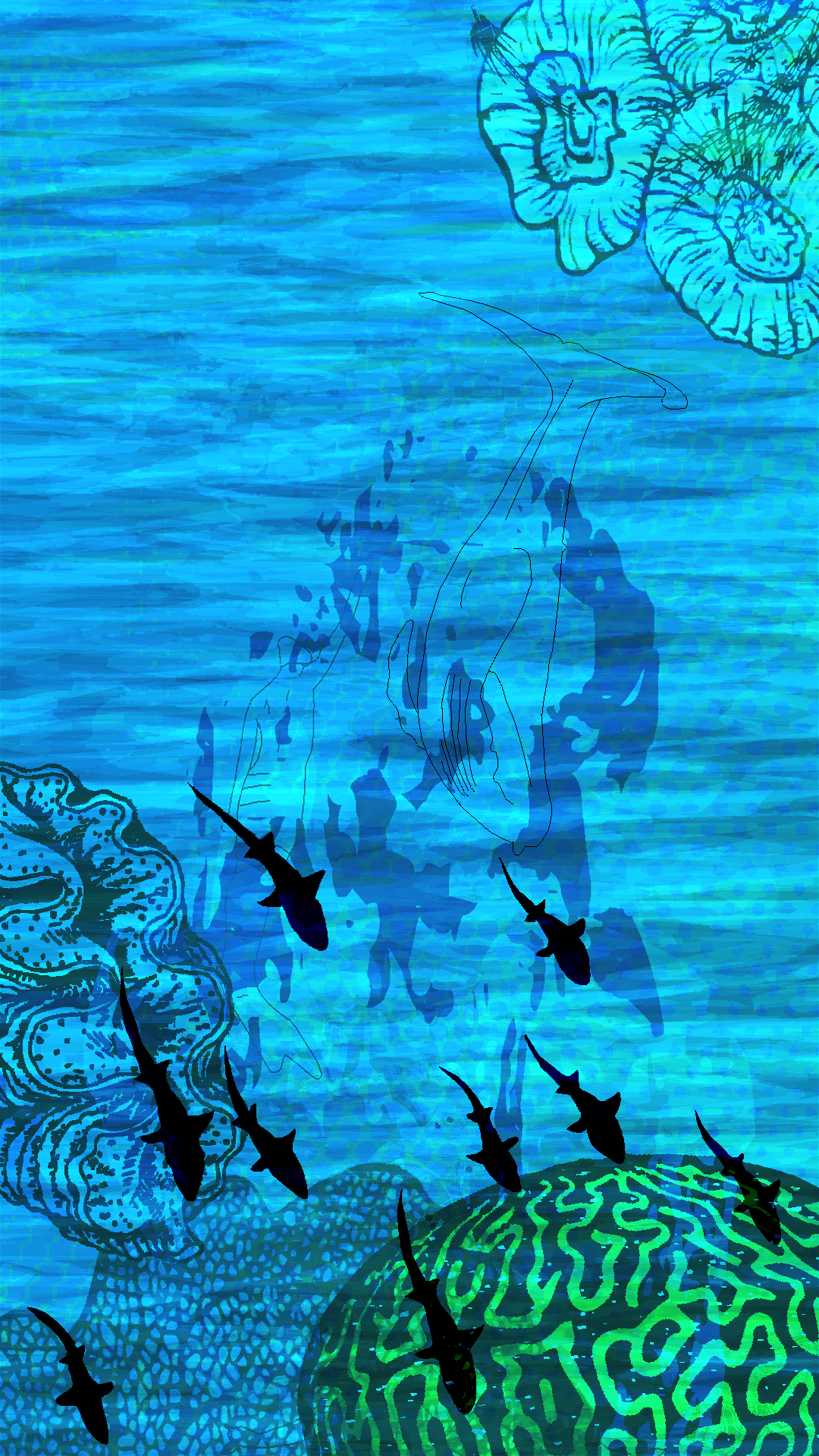 Animated image of sharks in an ocean
