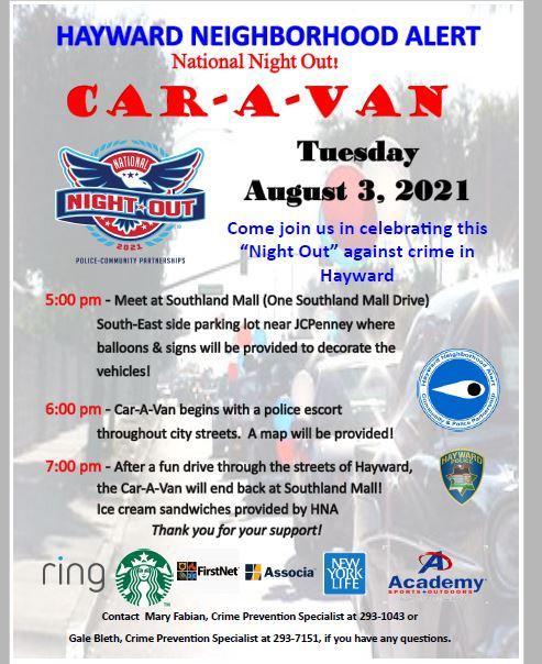 Hayward Neighborhood Alert presents: National Night Out 2021 Car-A-Van