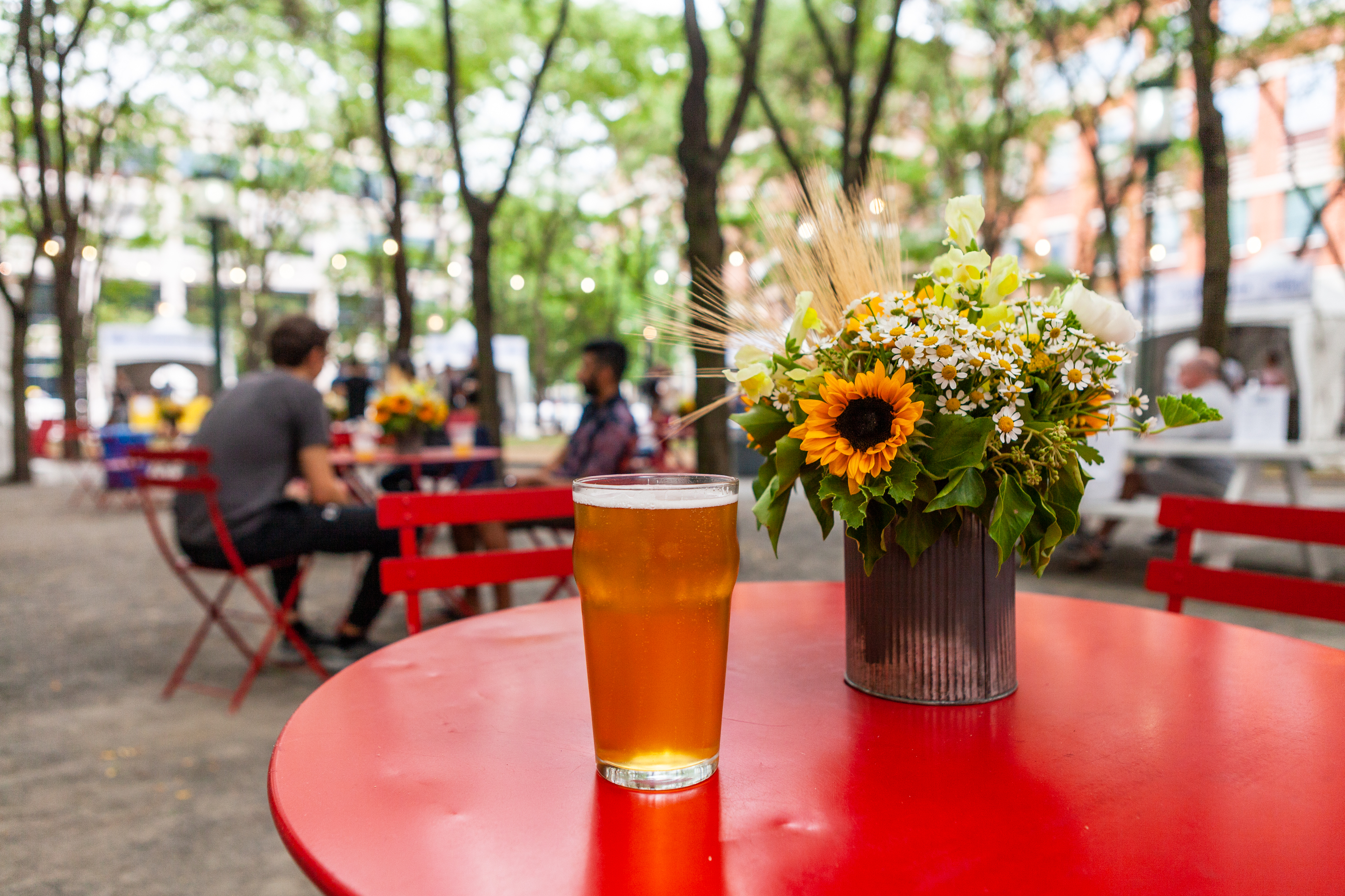 A beer sitting on a table in Brooklyn Commons Park