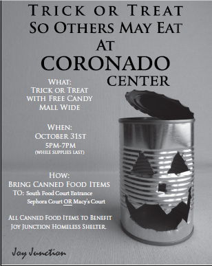 Trick or Treat With Free Candy Mall Wide in Exchange for Canned Food.