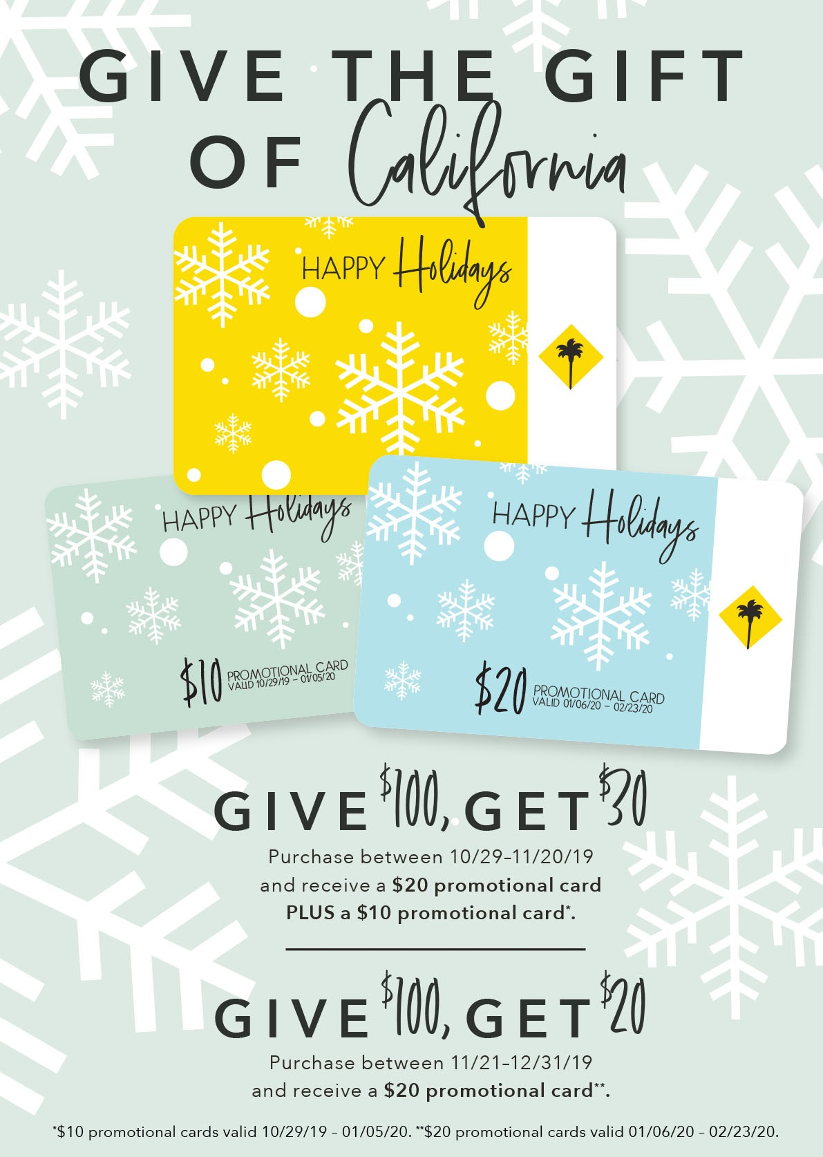 Holiday Gift Card Promo - Give the Gift of California from California Pizza Kitchen