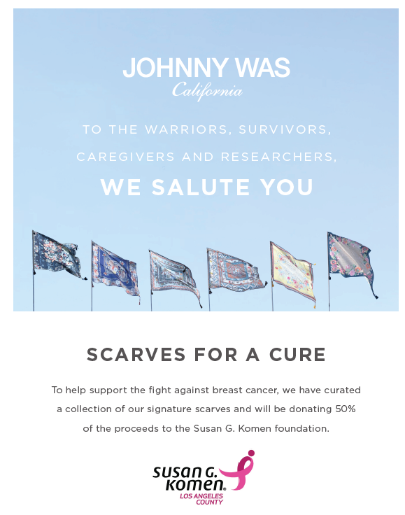 Johnny Was is partnering with Susan G. Komen!