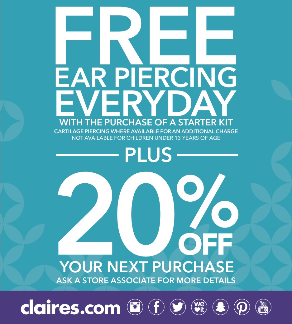 FREE Ear Piercing from Claire's