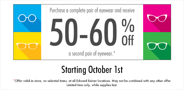 50 – 60% OFF SECOND PAIR from Edward Beiner