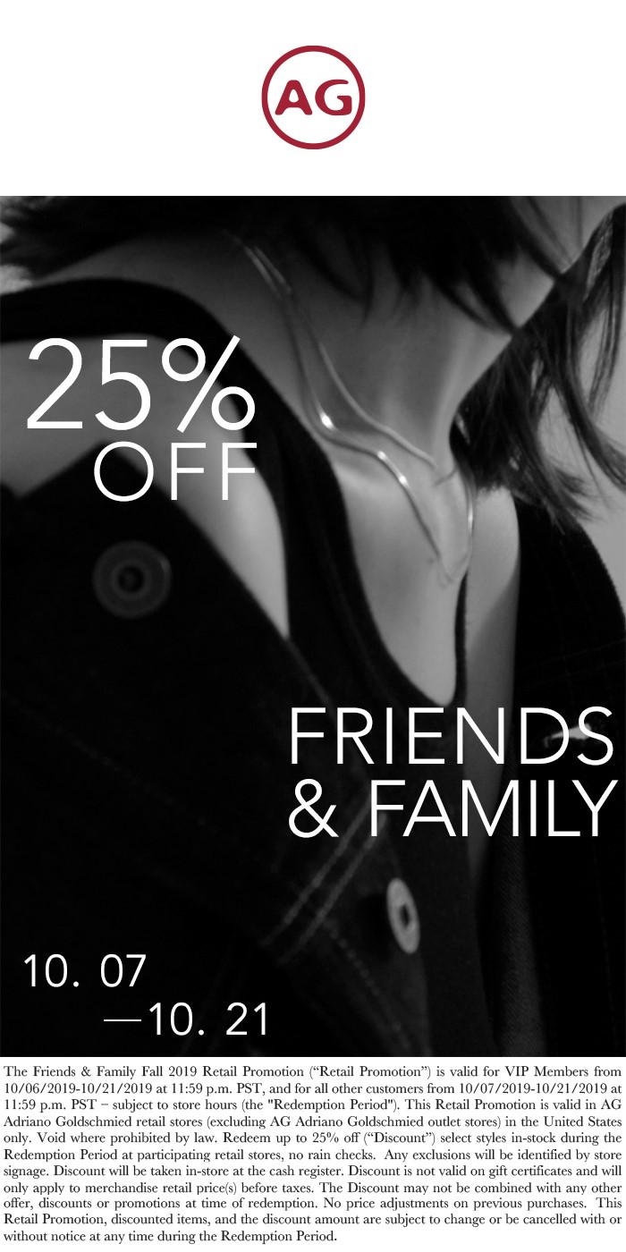 Come and join AG Jeans for their Family & Friends Event! from Ag Jeans