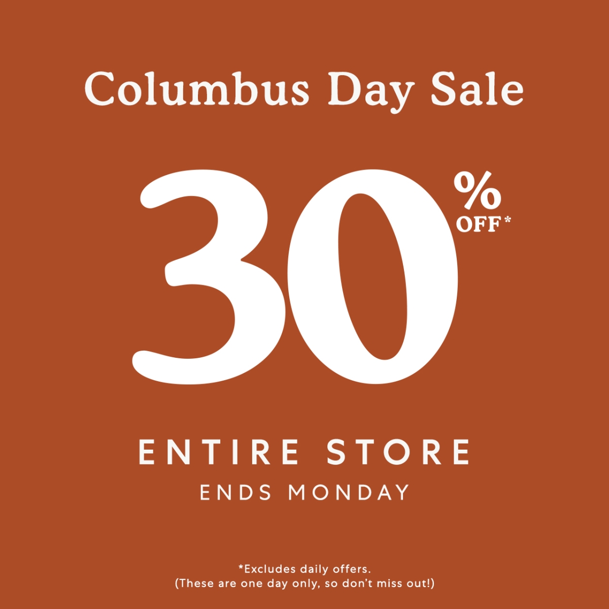 Columbus Day Sale from Roots