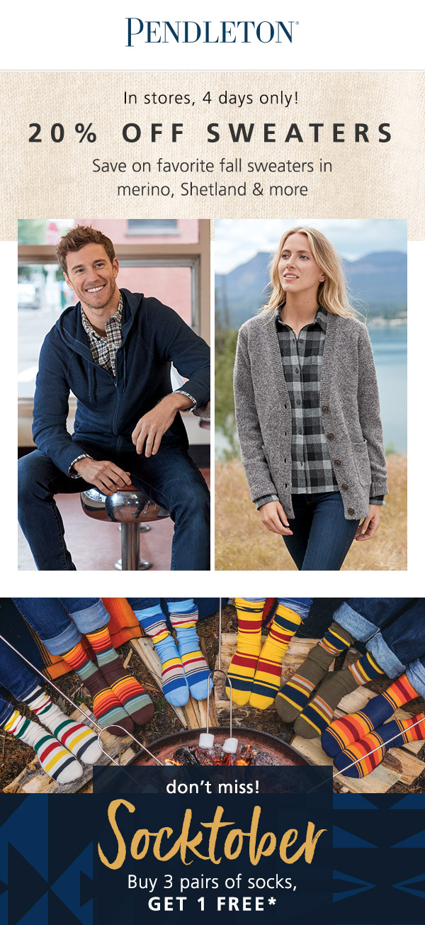 20% OFF Sweaters from PENDLETON