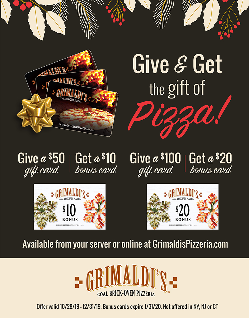 Grimaldi's Holiday Offerings from Grimaldi's Coal Brick Oven Pizzeria