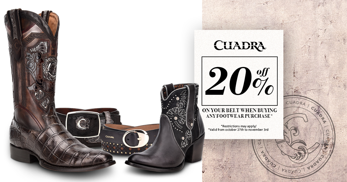 20% off on your belt when buying any footwear purchase from Cuadra
