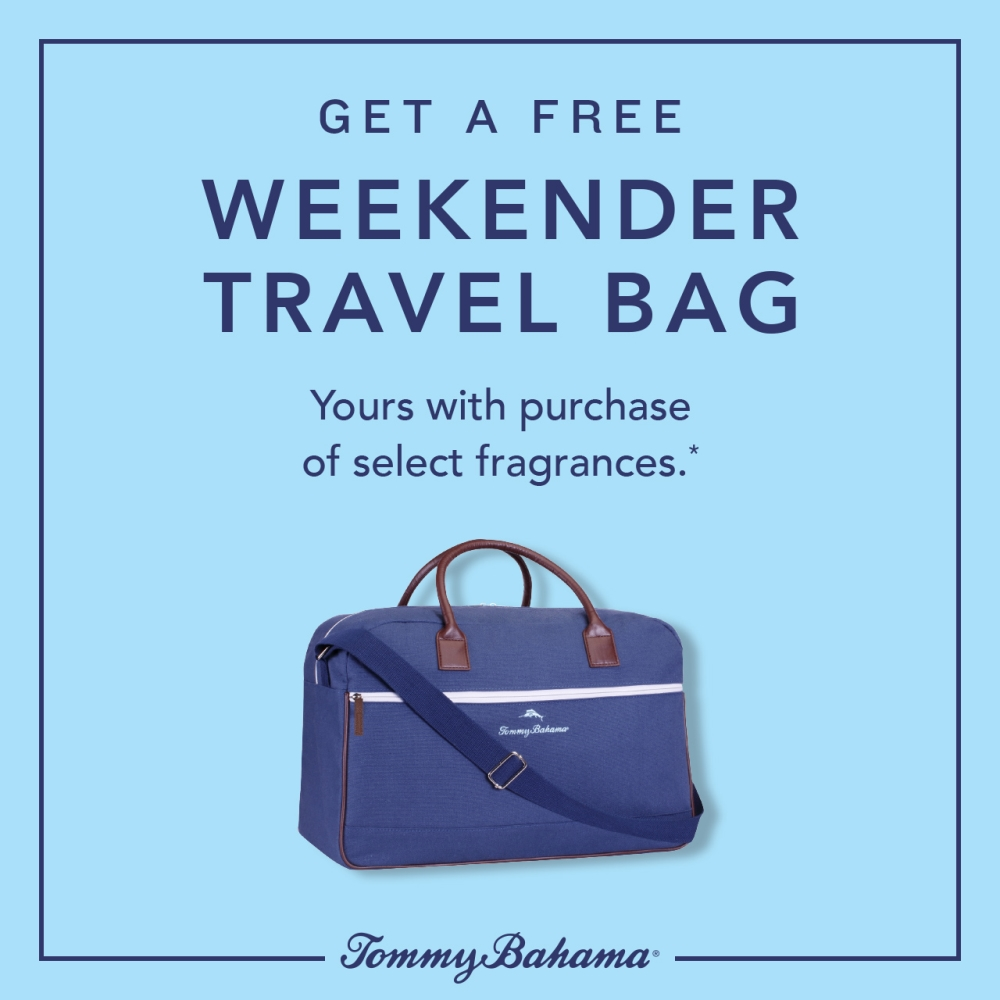 GET A FREE WEEKENDER TRAVEL BAG from Tommy Bahama