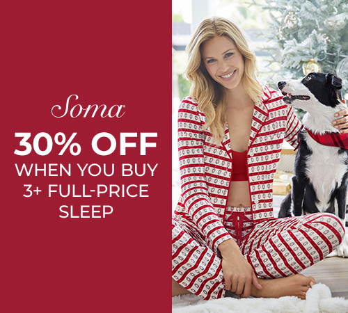 B3G 30% Off Full-Priced Sleepwear at Soma from Soma By Chico's