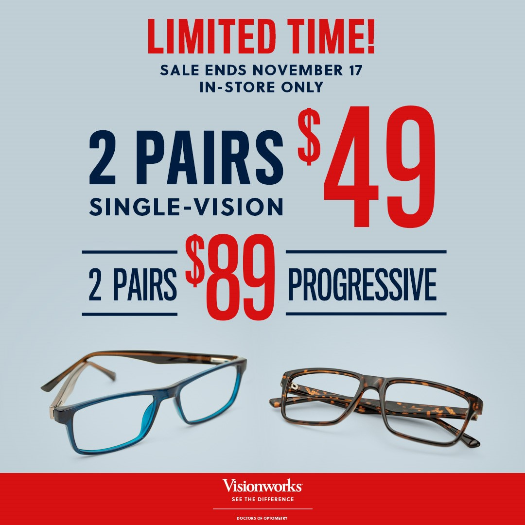 Two Pairs Single-Vision $49 from Visionworks