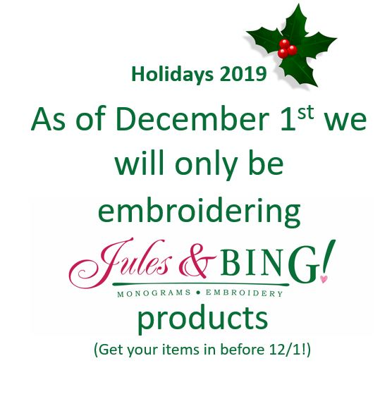 Holiday Cutoff from Jules & Bing!  Monograms And Embroidery
