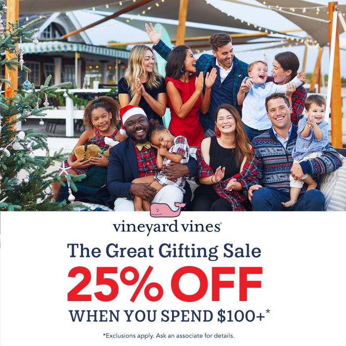 Get 25% off when you spend $100 or more from vineyard vines