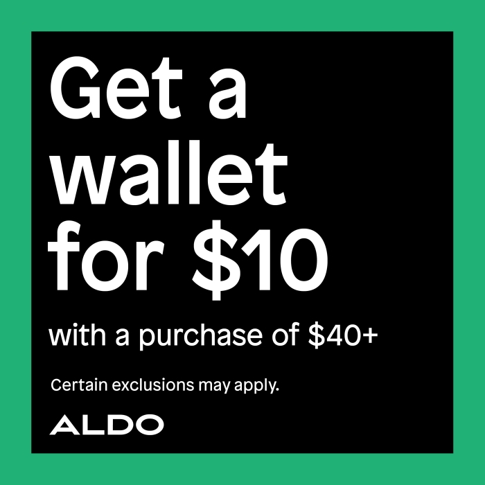Get a wallet for $10 with a purchase of $40 or more from ALDO