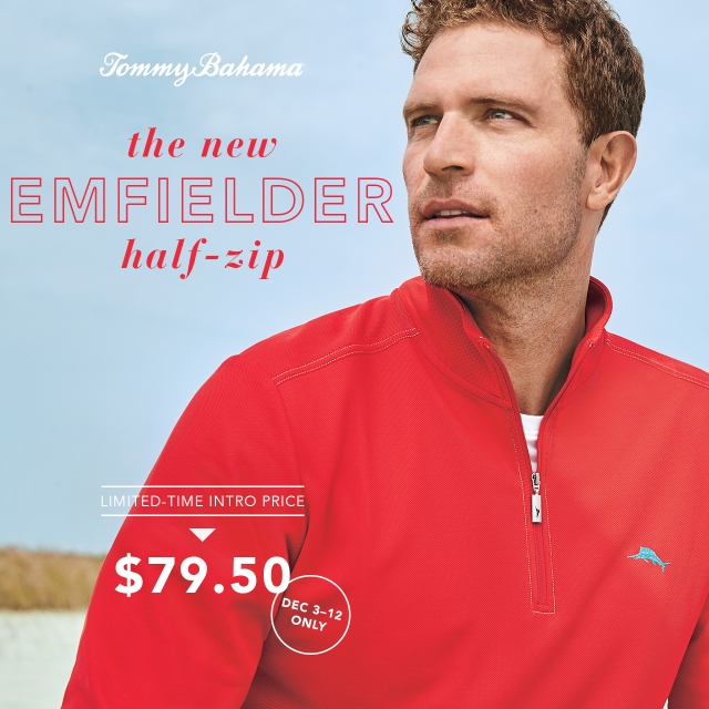 The New Emfielder Half-Zip from Tommy Bahama
