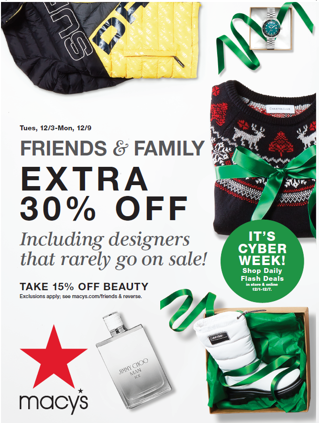 FRIENDS & FAMILY EXTRA 30% OFF from macy's
