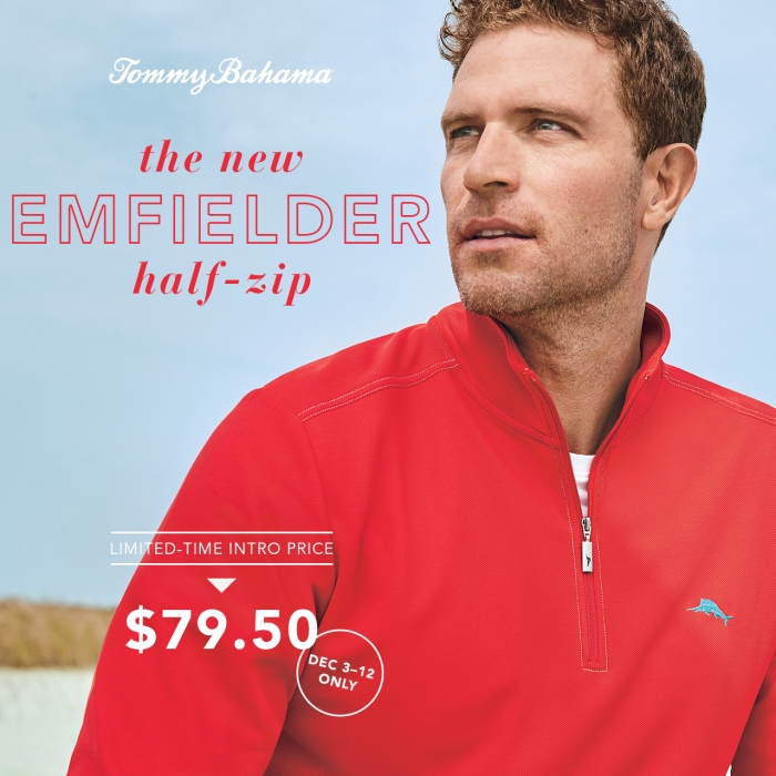 The New Emfielder Half Zip - Only $79.50 from Tommy Bahama