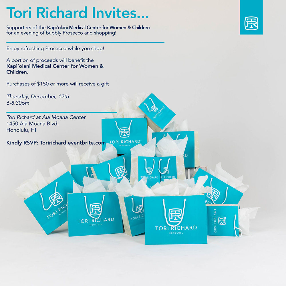 Tori Richard Shopping Event from Tori Richard