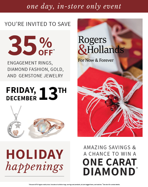 Holiday Happenings from Rogers & Hollands Jewelers