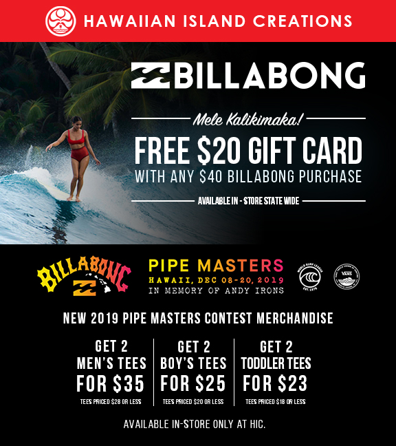 Billabong Promotion from Hawaiian Island Creations