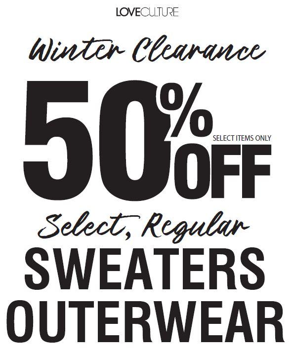 50% off Winter Fashion from Love Culture