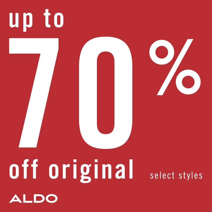 Up to 70% off on sale from ALDO