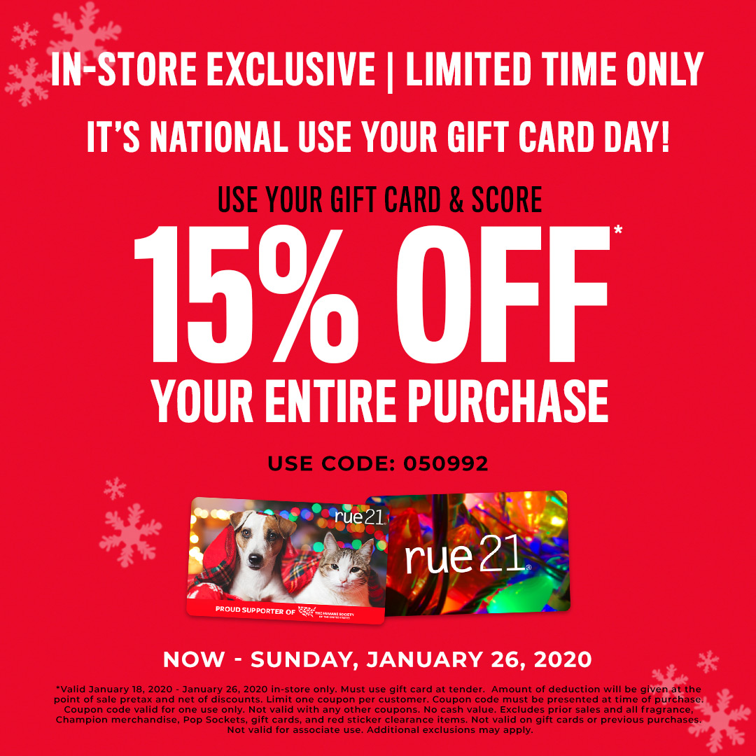 National Use Your Gift Card Day! from rue21