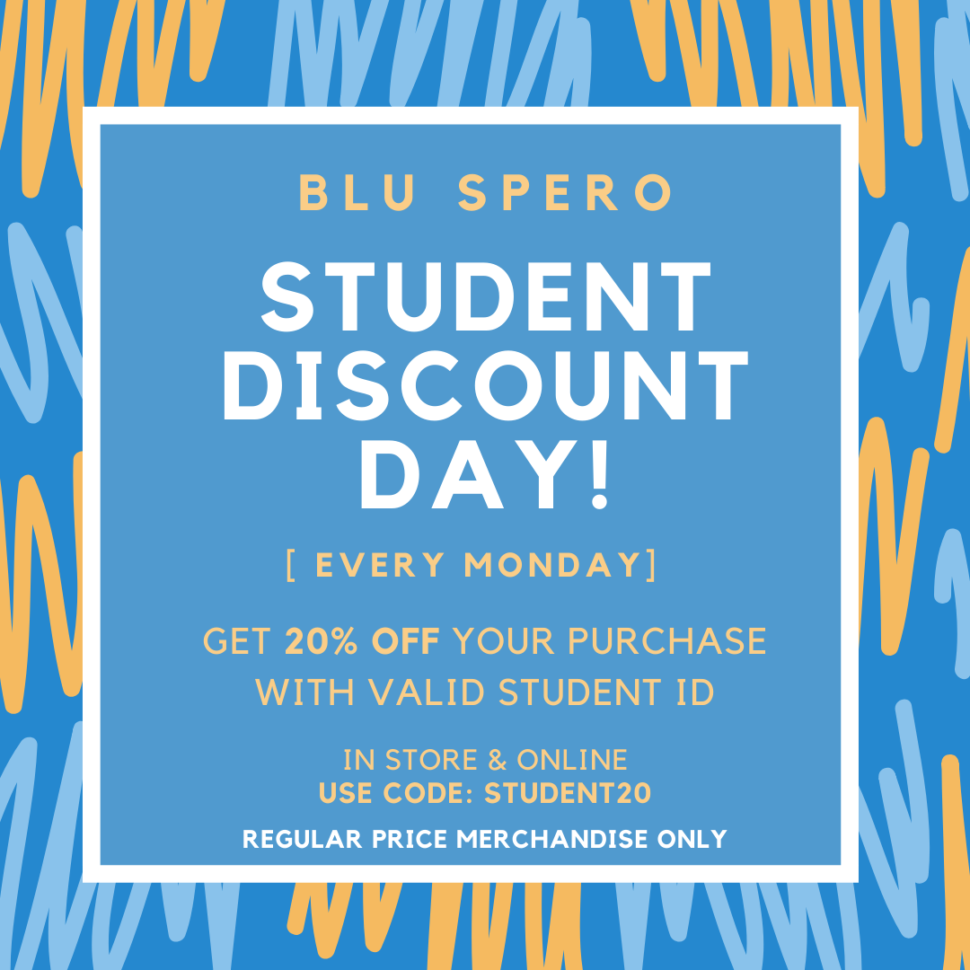 Student Discount Day - Every Monday! from Blu Spero