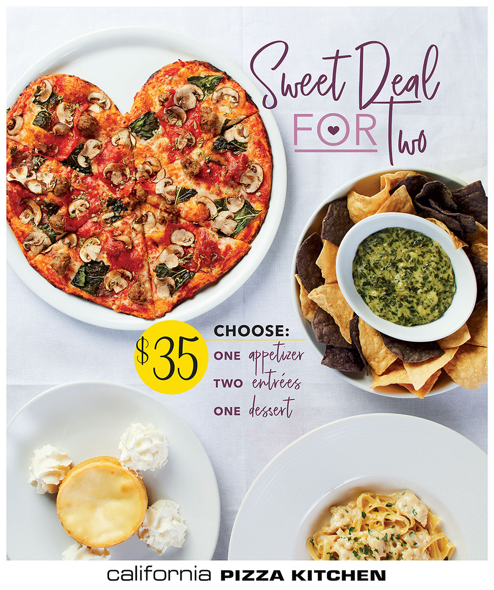 Sweet Deal for Two! One Appetizer, Two Entrees, and One Dessert for $35.00 from California Pizza Kitchen