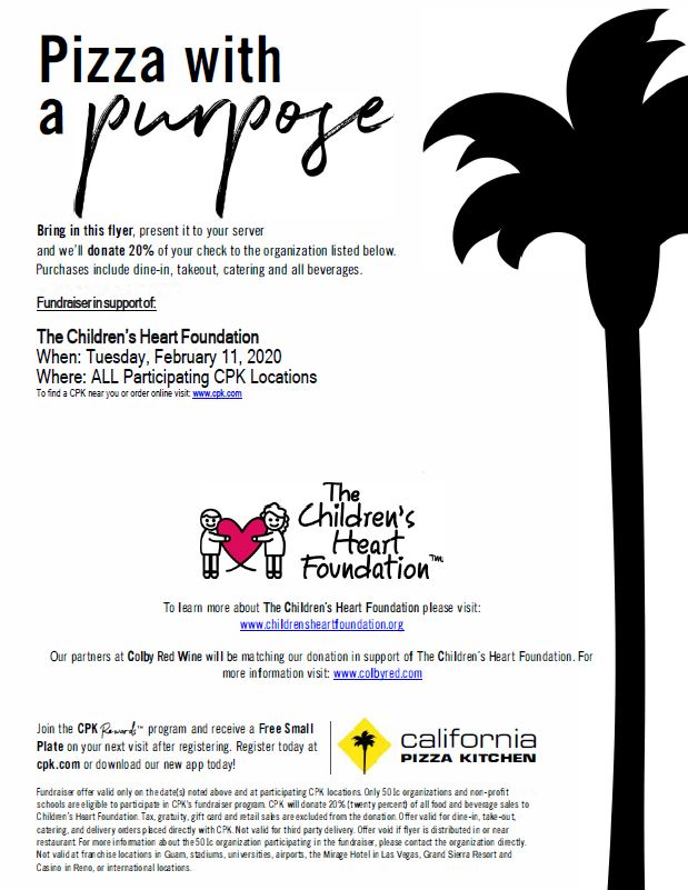 Join us for pizza with a purpose! from California Pizza Kitchen