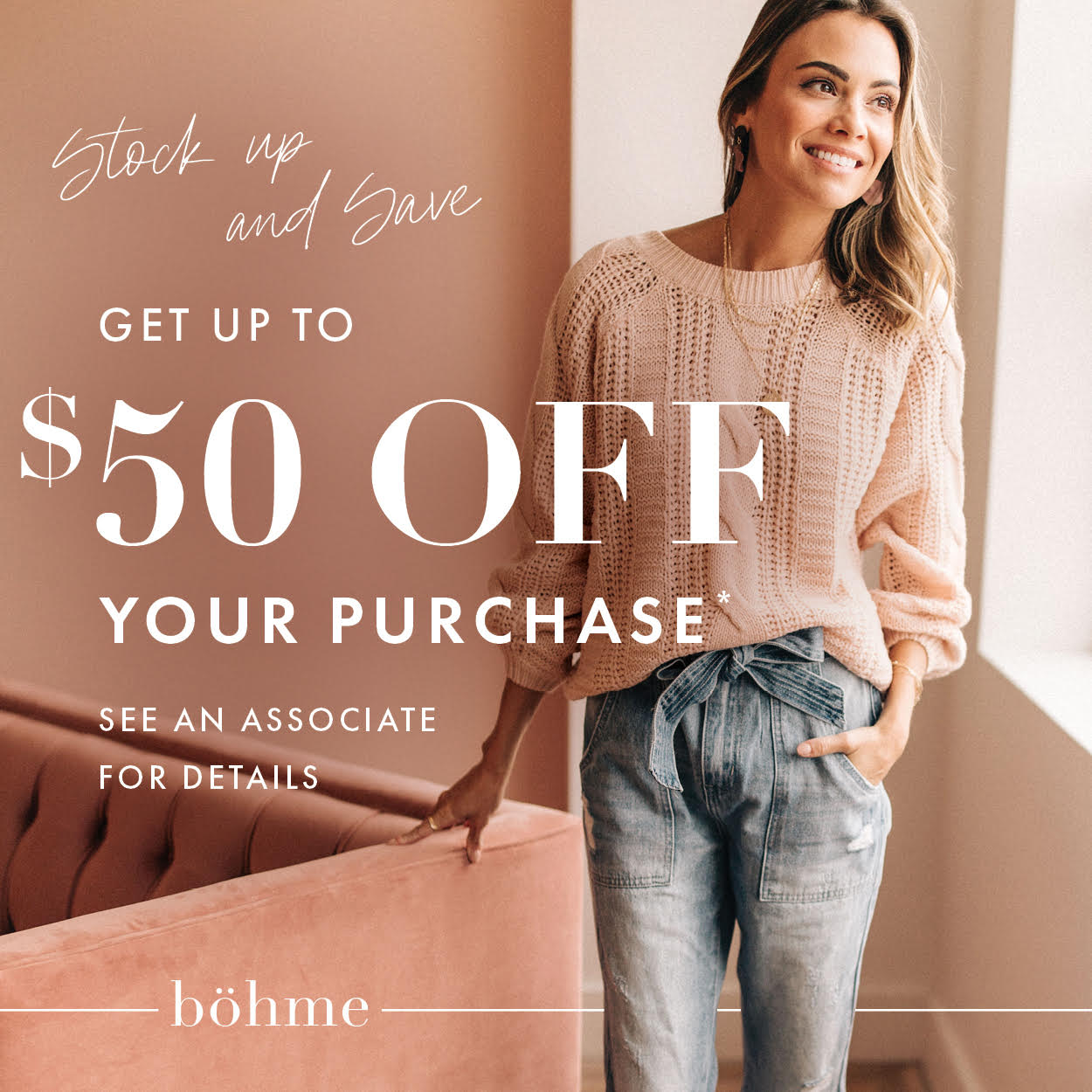 $50 Off Your Purchase from Bohme Boutique